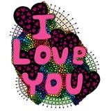 Palabra colorida del vector que pone letras te amo con el corazón Imagen de archivo libre de regalías