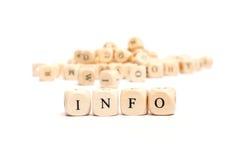 Palabra con la información de los dados Imagen de archivo