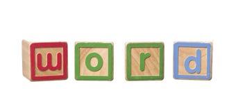 Palabra construida por Play Blocks Fotos de archivo libres de regalías