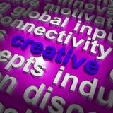 Palabra creativa que representa ideas y la imaginación innovadoras Imagen de archivo