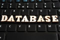 Palabra DATABASE imagen de archivo