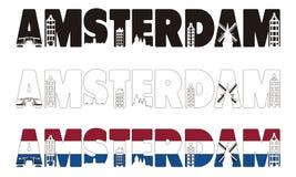 Palabra de Amsterdam con el horizonte que incluye dentro Fotos de archivo