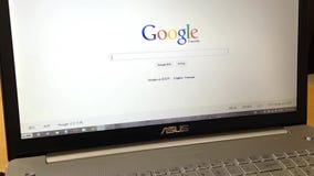 Palabra de búsqueda que mecanografía en Google metrajes