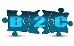 Palabra de B2C en el rompecabezas aislado en blanco stock de ilustración