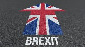 Palabra de Brexit y bandera de Gran Bretaña en el camino libre illustration