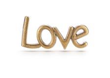 Palabra de bronce del amor Fotografía de archivo libre de regalías