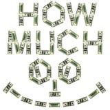 Palabra de cuánto a partir de 100 dólares sonríe Imágenes de archivo libres de regalías