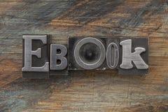 Palabra de Ebook en tipo del metal foto de archivo libre de regalías