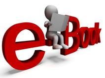 Palabra de Ebook que muestra la biblioteca electrónica Imagen de archivo libre de regalías