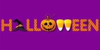 Palabra de Halloween con el sombrero de la bruja y calabaza y pastillas de caramelo Imágenes de archivo libres de regalías
