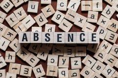 Palabra de la ausencia en las unidades de creación foto de archivo libre de regalías