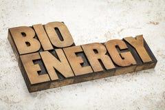 Palabra de la bioenergía en el tipo de madera Foto de archivo