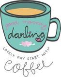 Palabra de la buena mañana en la taza de café azul Imagen de archivo