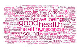 Palabra de la buena salud o nube de la etiqueta Foto de archivo libre de regalías