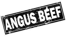 Palabra de la carne de vaca de Angus con en palabra negra del marco stock de ilustración