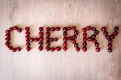 Palabra de la cereza Fotografía de archivo