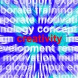 Palabra de la creatividad que representa ideas y la imaginación innovadoras Imagen de archivo libre de regalías