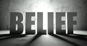Palabra de la creencia con la sombra, fondo ilustración del vector