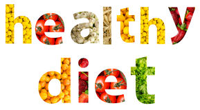 Palabra de la dieta de las frutas y verduras Foto de archivo libre de regalías
