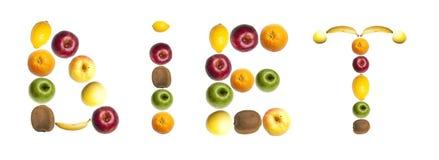 Palabra de la dieta hecha de frutas Fotografía de archivo libre de regalías