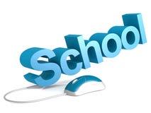 Palabra de la escuela con el ratón azul stock de ilustración