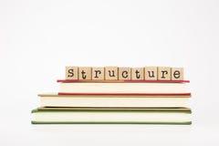 Palabra de la estructura en sellos y libros de madera fotos de archivo