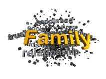 Palabra de la familia en Wordcloud con palabras claves Fotos de archivo