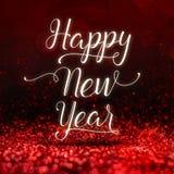 Palabra de la Feliz Año Nuevo en el backgro chispeante rojo de la perspectiva del brillo Imágenes de archivo libres de regalías