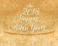 Palabra de la Feliz Año Nuevo 2018 en el fondo del estudio del brillo del oro, Holi Imagenes de archivo