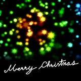 Palabra de la Feliz Navidad con el fondo estrellado Imagen de archivo libre de regalías