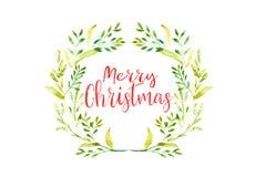 Palabra de la Feliz Navidad con el marco de la Navidad de la acuarela del le verde Fotografía de archivo libre de regalías