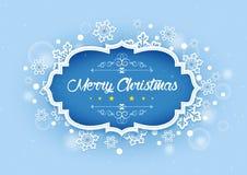 Palabra de la Feliz Navidad en fondo del invierno libre illustration