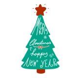 Palabra de la Feliz Navidad y de la Feliz Año Nuevo en el ejemplo del árbol Imágenes de archivo libres de regalías