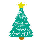 Palabra de la Feliz Navidad y de la Feliz Año Nuevo en el ejemplo del árbol Fotografía de archivo