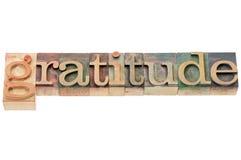 Palabra de la gratitud en el tipo de madera imagenes de archivo