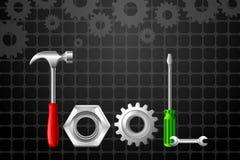 Palabra de la herramienta formada por el martillo y el destornillador Foto de archivo libre de regalías