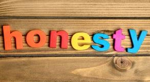 Palabra de la honradez Foto de archivo libre de regalías