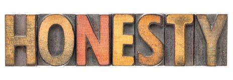 Palabra de la honradez en tipo de madera del vintage Imagenes de archivo