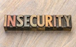 Palabra de la inseguridad en el tipo de madera fotografía de archivo