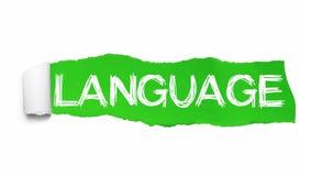 Palabra de la LENGUA escrita bajo pedazo encrespado de papel rasgado verde stock de ilustración
