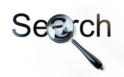 Palabra de la lupa y de la ?búsqueda? Imagen de archivo