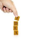 Palabra de la mano y de la idea de la palabra Imágenes de archivo libres de regalías