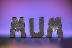 Palabra de la momia en letras chispeantes atractivas de la hoja de plata con li rosado Imagenes de archivo