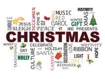 Palabra de la Navidad en el fondo blanco Imagen de archivo libre de regalías