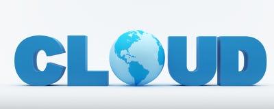 Palabra de la nube con el globo azul Foto de archivo libre de regalías