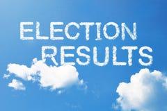 Palabra de la nube de los resultados de elección en el cielo fotografía de archivo libre de regalías