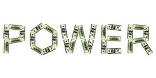 Palabra de la potencia del dólar Fotos de archivo libres de regalías