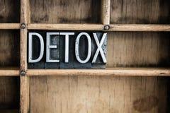 Palabra de la prensa de copiar del metal del concepto del Detox en cajón Foto de archivo