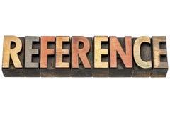 Palabra de la referencia en el tipo de madera fotografía de archivo libre de regalías
