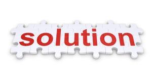 Palabra de la solución hecha de pedazos del rompecabezas stock de ilustración